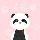 Ręcznie rysowane ilustracji wektorowych Panda. Śliczna Panda, do drukowania na ubraniach. - 231944490