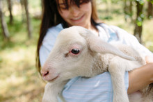 Young Woman Cuddling With Sheep