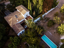 Aerial View Of Typical Country House With Pool In Andalusia, Spain
