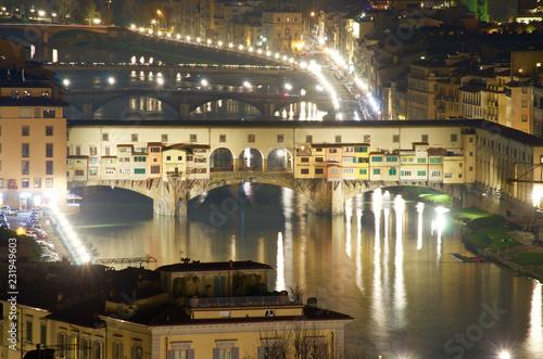Firenze Toscana Italia Ponte Vecchio Di Notte Visto Dall