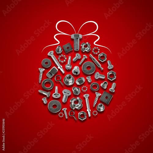 Fotografía  bolts, nuts, nails, screws, tools christmas decorations red