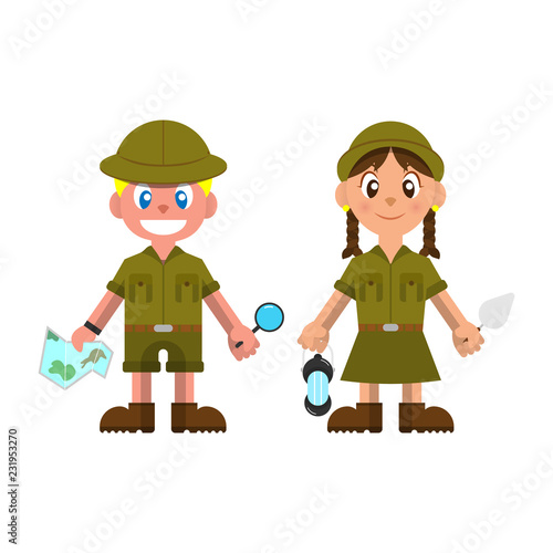 Little Adventurer wearing Scout Uniform and ready for