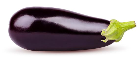 Fototapeta Isolated eggplant. Fresh Eggplant vegetable with stem isolated on white background. Aubergine with clipping path