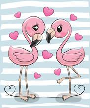 Two Cartoon Flamingos On A Blu...