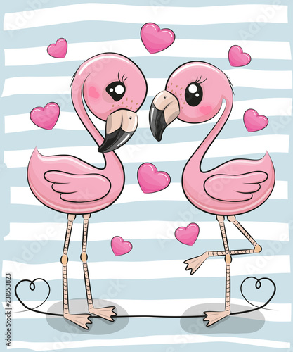 Dwa kreskówki flaminga na błękitnym tle