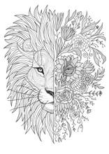 Lion Haead Floral Tattoo Sketc...