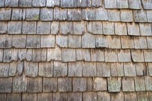 Old Weathered Wood Shingle Roof In A Traditional Full Frame Textured Background