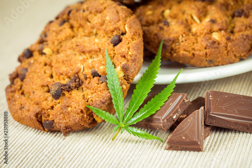Fototapeta Delicious homemade Chocolate chip Cookies with CBD cannabis and leaf garnish and buds. Medicinal Edibles. Treatment of medical marijuana for use in food. Canada legalization. Rasta cookies obraz