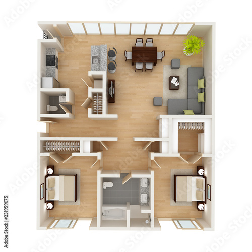 Modern House Floor Plan Top View 3d Illustration Buy This