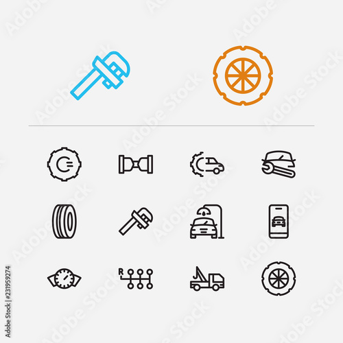 Service icons set  Gear logo and service icons with car tyre