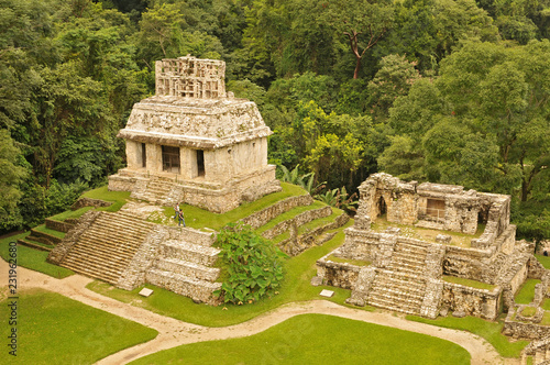 Panorama of Palenque archaeological site, a pre Columbian Maya civilization of Mesoamerica Canvas Print