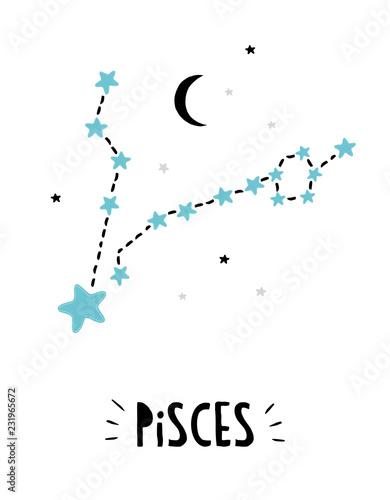 4645e93f5 Pisces Sign. Cute Bright Hand Drawn Zodiac Vector Illustration. White  Background. Blue, Black and Light Gray Stars. Black Moon. Childish Style  Illustration.