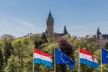 Beautiful Image Of Flags Of The European Union And Luxembourg Flag With Background The Banking Museum In Luxembourg