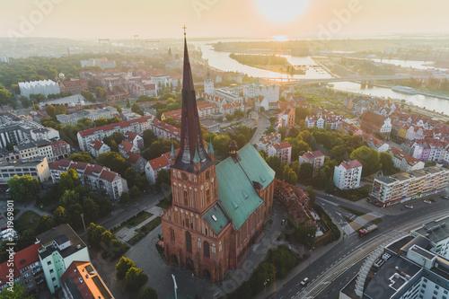 Obraz St. Jackob Cathedral in Szcecin aerial view - fototapety do salonu