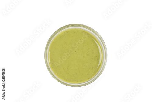 Indian mint sauce chutney isolated on white background