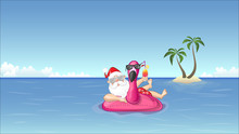 Santa Claus On Inflatable Flamingo Float Enjoys The Summer Vacation