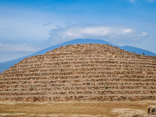 view of a circular pyramid in the archaeological zone of Guachimontones in Teuchitlán in the state of Jalisco Mexico