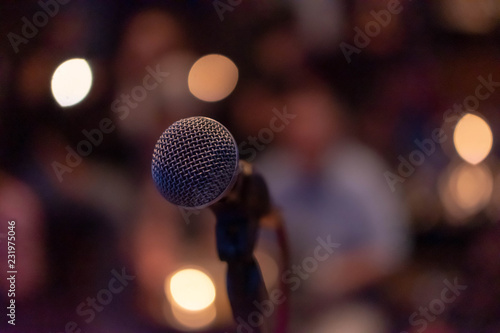 Fotografie, Obraz  Microphone on a stage waiting for a singer to come to stage and perform