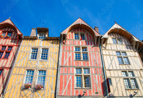 Fotografie, Obraz Troyes, France - Typical half-timbered houses