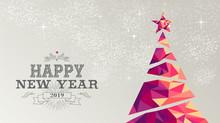 Happy New Year 2019 Card Christmas Tree Triangle