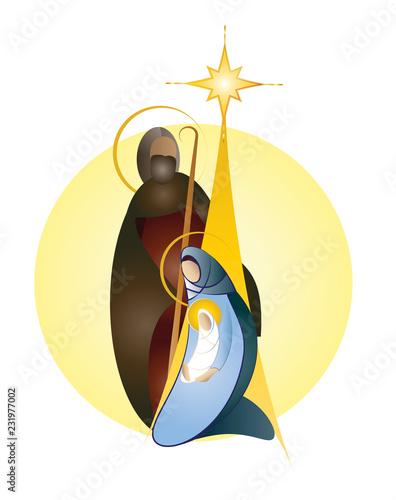Fotografie, Obraz  Christmas nativity scene - Joseph Mary and baby Jesus