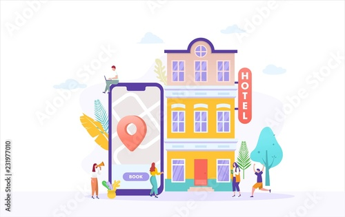 people booking hotel and search reservation for holiday vector illustration concept