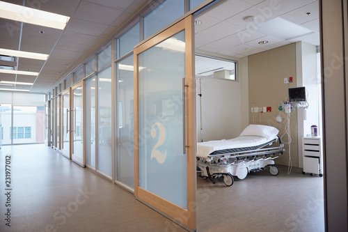 Empty hospital hallway and room