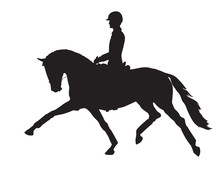 A Silhouette Of A Dressage Rid...