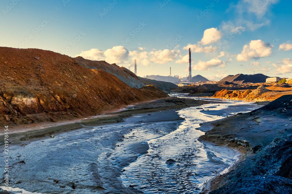 Fototapeta landscape pollution of the environment emission of industrial plant, Karabash city Russia