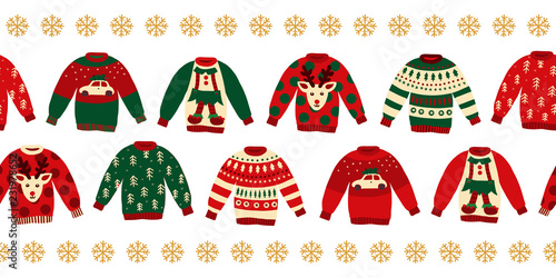 5ee4480ebef8 Ugly Christmas sweaters seamless vector border. Knitted winter jumpers with  norwegian ornaments and decorations. Holiday design green