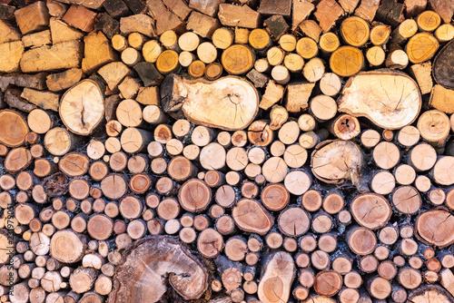 Gestapeltes Holz in verschiedenen Größen als Brennholz