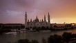 Beautiful Time-lapse of sunset at the Basilica of Our Lady of the Pillar of Zaragoza, Aragon, Spain