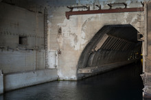 The Entrance To The Concrete Bunker With The Entrance From The Water Side. Entry For Ships
