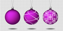 Set Of Transparent Christmas Balls, Isolated