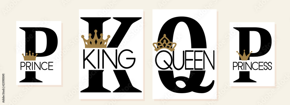 Fototapeta King,Queen, Prince and Princess. Mom, dad, little sister, brother, daughter, son - set of family crown design. Black text isolated on white. Printable: t-shirt, pillow, mug, cup, sweatshirt, pajamas