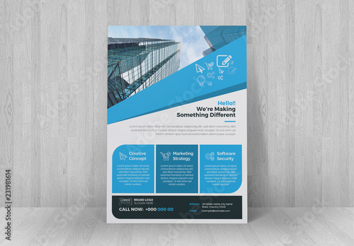 Business Flyer Layout With Blue Accents Buy This Stock Template And