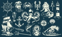 Vintage Maritime And Nautical Elements Collection