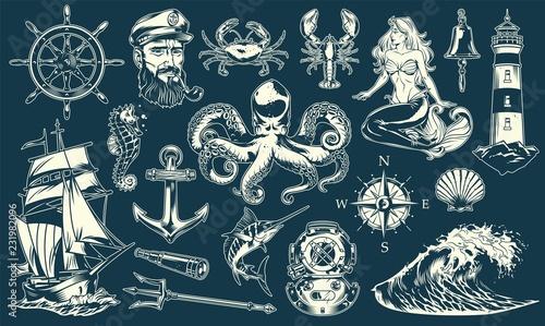 Fotografie, Obraz Vintage maritime and nautical elements collection