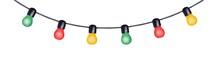 Colorful Party Light String For Special Events Celebration With Small Multicolored Glowing Bulbs And Black Cord. Hand Painted Watercolour Drawing On White. Beautiful Outdoor And Indoor Home Decor.
