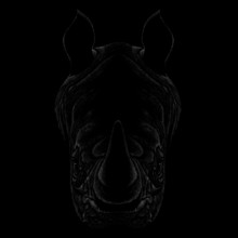 The Vector Logo Rhinoceros For T-shirt Design Or Outwear.  Hunting Style Rhinoceros Background.