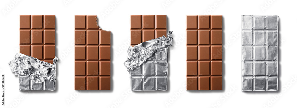 Fototapety, obrazy: Top view of milk chocolate bars . Isolated on white background