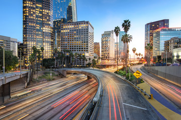 Fototapeta Downtown Los Angeles at sunset with car traffic light trails
