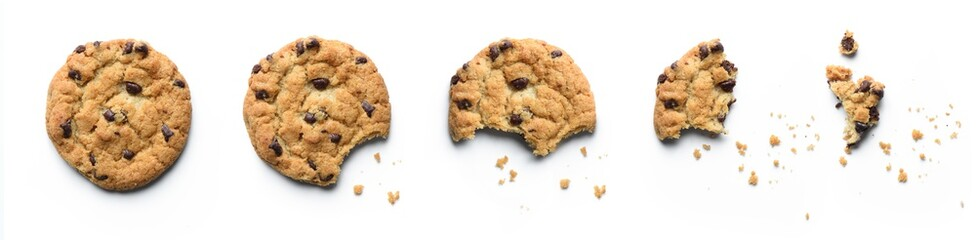 Steps of chocolate chip cookie being devoured. Isolated on white background.