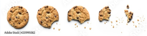 Steps of chocolate chip cookie being devoured. Isolated on white background. - 231995082
