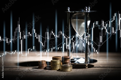 Foto op Plexiglas Hoogte schaal Time And Money Concept image - sand watch and coins