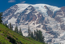 Glaciated Mountain Looming Abo...