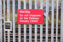 Passenger Warning Sign At Rail...