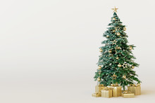 Christmas Tree With Gold Gift Box On White Background. 3d Rendering