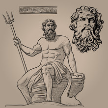 Poseidon. God Of The Sea, Earthquakes, Soil, Storms, And Horses. Digital Sketch Hand Drawing Vector.