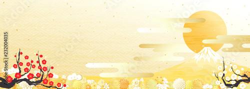 Spoed Foto op Canvas Wanddecoratie met eigen foto 富士山 初日の出 紅白の梅